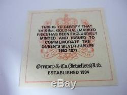 Rare Hallmarked 9k Gold Queen Elizabeth II Silver Jubilee 9ct gold coin 2.8 Gram