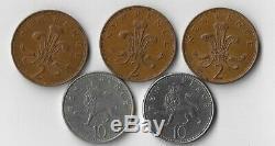 Rare Queen Elizabeth Coins. 1978,1980,1971 New Pence, 1996,1992, Ten Pence