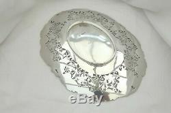 Rare Queen Elizabeth II Hm Sterling Silver Pierced Fruit Dish 1952