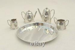 Rare Queen Elizabeth II Miniature Hm Sterling Silver 4 Piece Tea Set And Tray