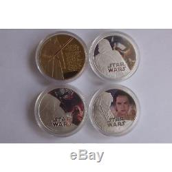 Rare STAR WARS gold and silver finish medal Queen Elizabeth coin set