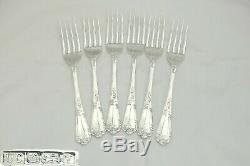 Rare Set 6 Queen Elizabeth II Hm Sterling Silver La Regence Dessert Forks 1993