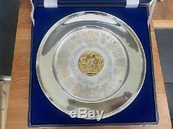 Rare Sterling Silver & 24ct Gold Commemorative Plate Queen Elizabeth Coronation