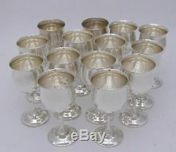Reed & Barton Queen Elizabeth Sterling Silver Brandy / Wine Goblets Set of 14