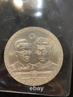 STERLING SILVER 1971 Queen Elizabeth & Japanese Emperor / Empress 2+ Oz Silver