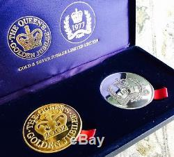 Scarce Limited Edition Queen Elizabeth II Silver/Gold Plated Jubilee Medallions