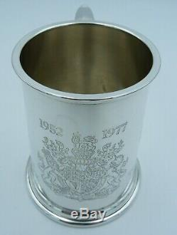 Solid Silver Pint Tankard Royal Family Queen Elizabeth II 1977 Jubilee (Cup Mug)