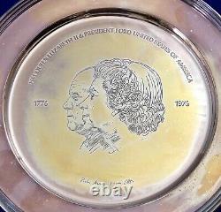 Solid Silver Queen Elizabeth II Tray USA Independence PIETRO ANNIGONI