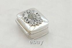 Stunning Queen Elizabeth II Hm Sterling Silver & Marcasite Pill Box 2000