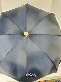 Swaine Adeney Brigg HM Queen Elizabeth Umbrella Navy Blue Vintage Nylon Small