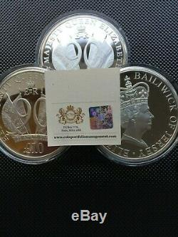 THREE Queen Elizabeth 90th Anniversary 5 Ounces Silver Proof £10 Coin