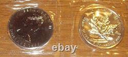 TWO 1988 CANADIAN MAPLE LEAF 5 DOLLAR COINS. 9999 Fine SIlver, QUEEN ELIZABETH