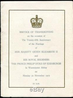 Thanksgiving Ceremonial Silver Jubilee Marriage Queen Elizabeth II 72