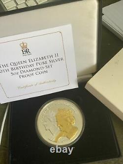 The Queen Elizabeth 11 90th Pure Silver 5 Oz Diamond Set Proof Coin