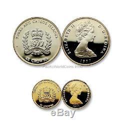 Turks and Caicos Islands 1977 Queen Elizabeth II 2pc Gold & Silver Set SKU# 6503
