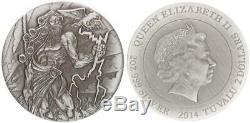 Tuvalu 2 Dollar 2014, 2 OZ Argent, Gods Of Olympus Zeus, Queen Elizabeth II Pp