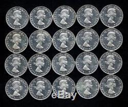 Twenty 1963 Queen Elizabeth II 80% Silver Canada Dollars Lot C62