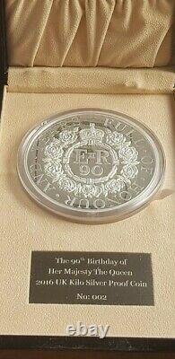 UK £500 kilo proof silver coin 2016 90 years Queen Elizabeth NUMBER 002