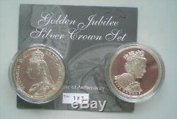 UK, Queen Victoria and Queen Elizabeth 11,1887 and 2002 Silver Crown Set D727