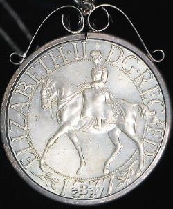 Vintage 1952 1977 Queen Elizabeth II Silver Jubilee Coin Sterling Pendant