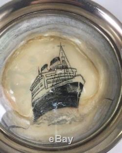 Vintage 1959 London Sterling Silver Hand Painted Queen Elizabeth Ashtray 4.5