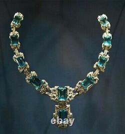 Vintage 925 silver Queen Elizabeth's Brazilian Aquamarine Necklace for women