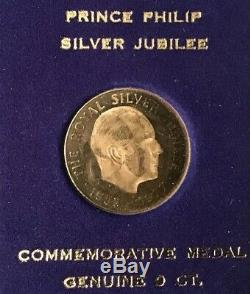 Vintage 9ct Gold Queen Elizabeth II & Prince Phillip, Silver Jubilee Medals Cased