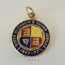Vintage 9ct Yellow Gold Enamel Queen Elizabeth II Silver Jubilee 1952-77 Charm/P