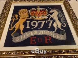 Vintage Handmade Needlepoint Queen Elizabeth II Silver Jubilee Framed Art 1977