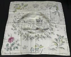 Vintage Oliver Messel Silk scarf Queen Elizabeth Silver Jubilee