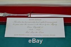 Vintage Queen Elizabeth 11 sterling silver letter opener boxed mint 1952 1977