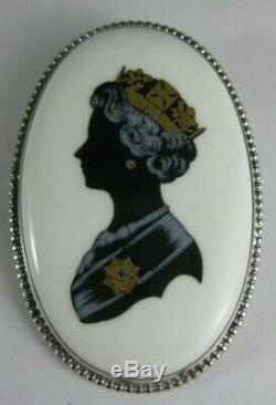 Vintage Queen Elizabeth II Silver Jubilee 1977 Coalport Sterling Pin Brooch