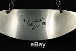 Vintage Queen Elizabeth II Solid Silver Jubilee Wine Label Bottle Ticket 1977