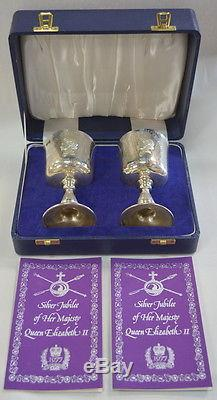 Vintage Silver Jubilee Sterling Goblets Queen Elizabeth Toye Kenning & Spencer