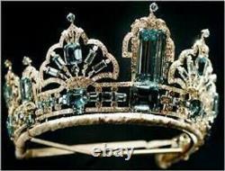 Vintage silver Rose cut diamond Queen Elizabeth's Brazillian Aquamarine Tiara