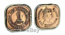 Vtg 1950s BRITISH Sterling Silver ONE CENT Queen Elizabeth II COIN Cufflinks
