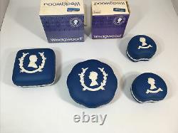 WEDGWOOD JASPERWARE QUEEN ELIZABETH SILVER JUBILEE 1952 SET OF 4 Candy Boxes