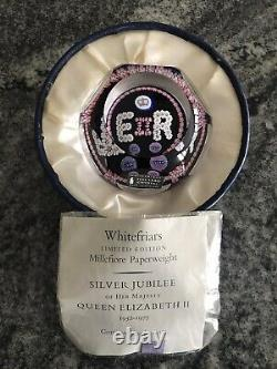 WHITEFRIARS QUEEN ELIZABETH II SILVER JUBILEE Millefiori PAPERWEIGHT