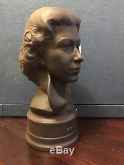 Wedgwood Black Basalt Busts Queen Elizabeth & Duke of Edinburgh Silver Wedding