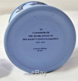 Wedgwood Blue Candy Jar 1977 Ltd Edtn Silver Jubilee Queen Elizabeth II England
