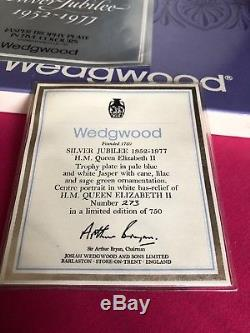 Wedgwood Five Colour H. M Queen Elizabeth II Silver Jubilee Trophy Plate Jasper