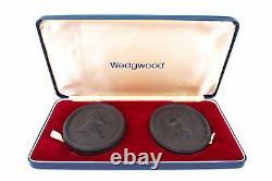 Wedgwood Queen Elizabeth II Silver Wedding Anniversary Plaques Basalt Ware